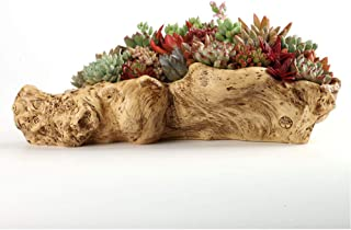 Worila Faux Wood Vintage Resin Succulent Planter Wood Like Cactus Container Driftwood Stump Log Plant Pot (A)