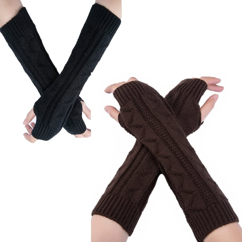 Flyou 2Pairs Length Max 77% OFF Arm Warmer Winter Max 79% OFF Thumb Gloves Long Knit
