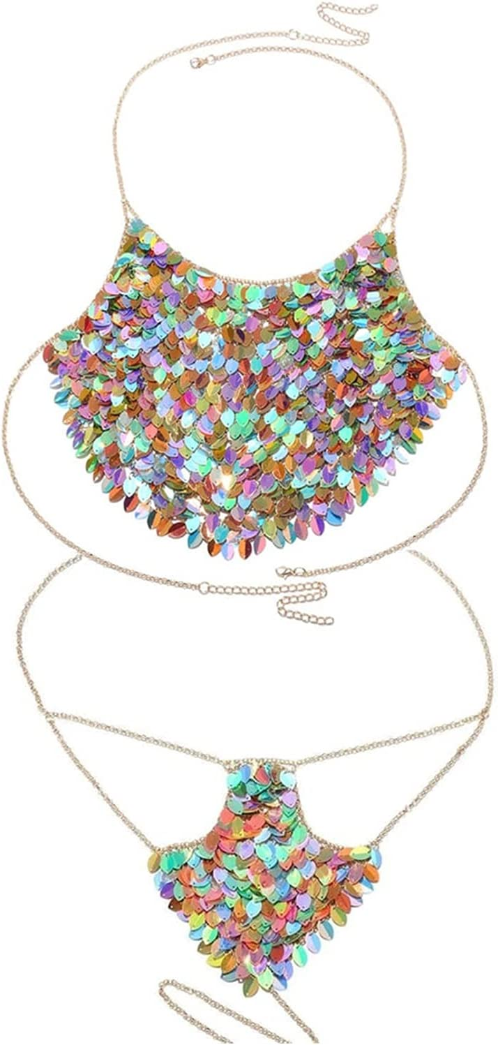 MING-MCZ Body Jewelry for Women Shiny Metal Multicolor Sequin Body Chain Bikini Jewelry for Women Bohemia Sexy Underwear Set Bra and Thong Jewellery Accessories Harness Bra (Metal Color : Set)