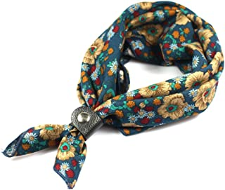 Neckerchiefs for Men, 24''× 24'' Multicolored Patterned Cotton Scarves with Buckle