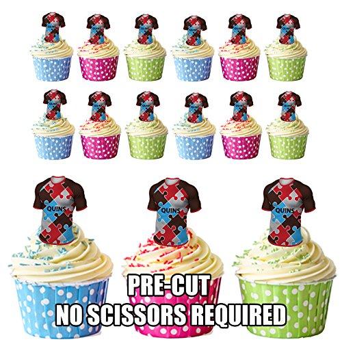 prédécoupés arlequins Rugby Chemises comestible pour cupcakes/gâteau Décorations (lot de 12)