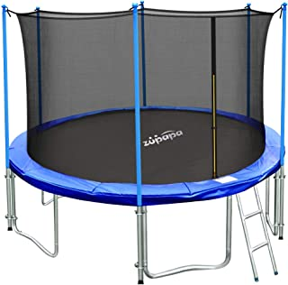 Zupapa 10 Ft TUV Approved Trampoline with Ladder, Outdoor Trampoline with Enclosure net and Safety Pad Jumping Mat Spring Pull T-Hook, Backyard Trampoline for Kids