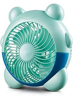 ZGQA-AOC Ventilador eléctrico pequeño Ventilador PP Materiales Mini Segunda Velocidad de Engranajes Forma Reloj Despertador Cama Escritorio de Oficina residencia de Estudiantes Silencio USB Azul 20 *