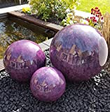 Dekokugel 3er Set 15-10-10 cm Edelstahl violett lila Kugel Dekorationskugel