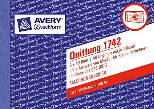 Avery Zweckform 1742 Quittung Kleinunternehmer, DIN A6, selbstdurchschreibend, 2 x 40 Blatt, weiß (5er Spar-Pack)