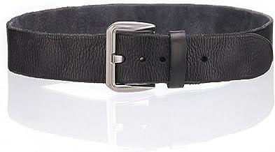 Men's Belt Needle Buckle Water Shampoo Leather Skin Retro Male Belt Fashion (Color : Black, Size : 110cm)