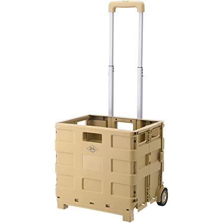 不二貿易 折りたたみ キャリーカート アウトドア 幅40cm サンドベージュ コンパクト 耐荷重25kg 86106