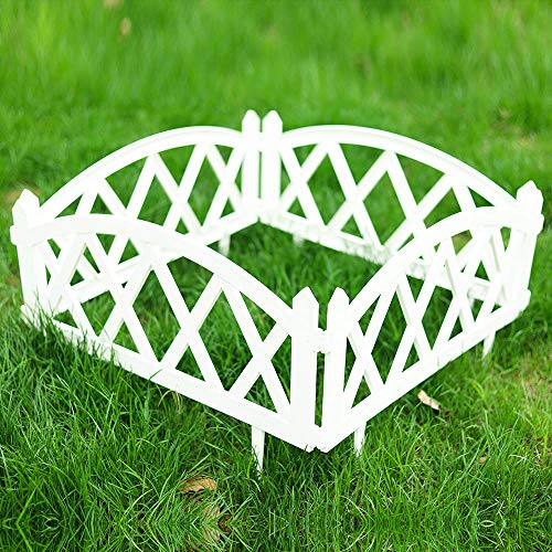 Sungmor Pack of 4 Garden Plastic Rail Fence White Pickets,94.5 Inch Length Outdoor Lawn Patio Protective Guard Edging Boarder Decoration