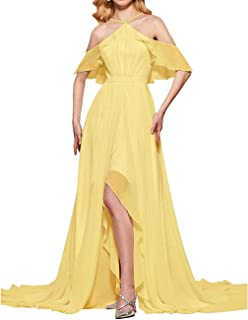 Jonlyc A-Line High Low Halter Ruffled Chiffon Bridesmaid Dresses Prom Evening Gowns