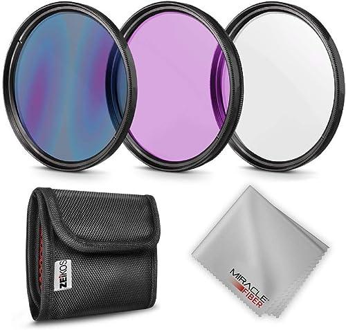 3 Piece Lens Filter Kit 77mm Canon EOS Rebel SL2 High Grade Multi-Coated + Microfiber Cloth Multi-Threaded