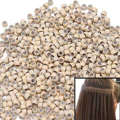 100 Stück Nanorings mit Silikon 3 mm Einsatz Hair Extension für Microrings Haarteile Blond