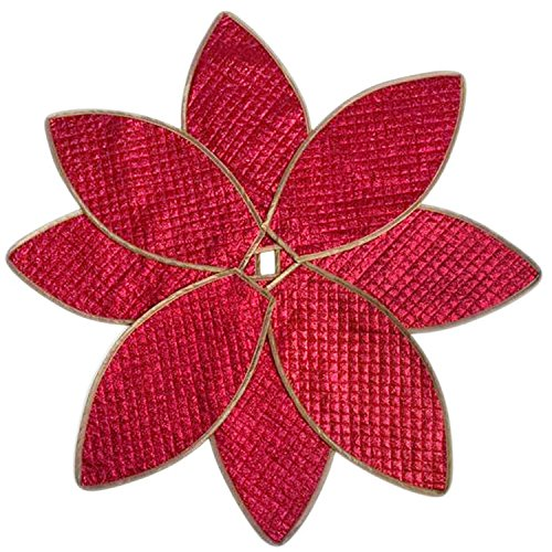 SORRENTO Poinsettia Christmas Tree Skirt Shiny Leaf Design Bling Bling Quilted Tree Skirt 36'
