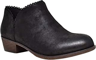 Christmas Special Sabina Distressed Low Chunky Heel Boho Ankle Booties for Women & Teen Girls (Assorted Colors)