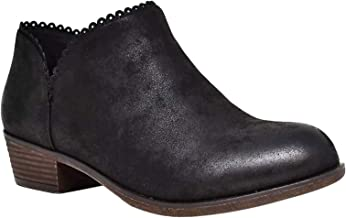 Sabina Distressed Low Chunky Heel Boho Ankle Booties for Women & Teen Girls (Assorted Colors)