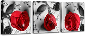 MESESE Red Rose Flower on Black White Canvas For Home Wall Art Decor, 3 Panels Modern Romantic Floral Framed Bedroom Decoration ( 12inchesx12inchesx3pcs)
