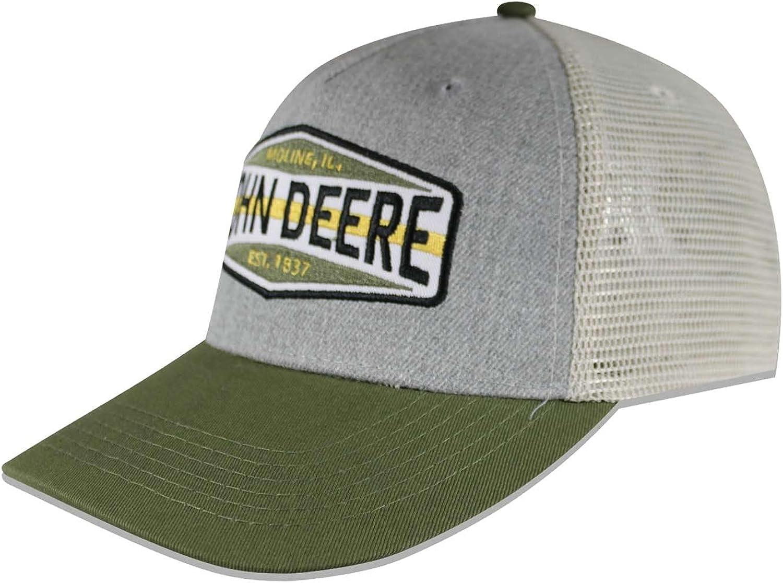 John Deere Colorblock Patch Mesh Backed Hat, Ivory