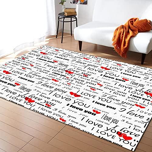 Alfombras de Arte de corazón Rojo con Fuente de Alfabeto inglés para alfombras de Dormitorio y alfombras para el hogar, Sala de Estar, cabecera, hogar, Alfombra-M