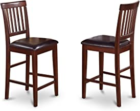 East West Furniture VNS-MAH-LC Counter Stool Set with Faux Leather Seat, Mahogany Finish, Set of 2
