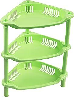 Ranmok 3段コーナーストレージシェルフ 化粧品 バスルーム キッチン カウンタートップ 化粧台用 オーガナイザーシェルフ 三角形 グリーン