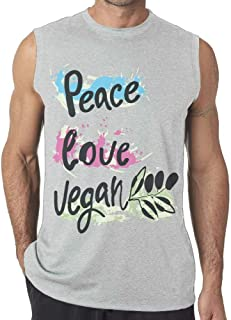 Peace Love Vegan Mens Sleeveless Sport Tank Top Summer Casual Gym Vest tee