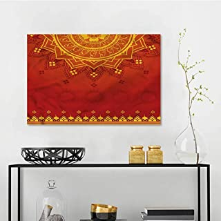 one1love Lotus Landscape Oil Painting Traditional Saree On Canvas Abstract Artwork W27 xL19