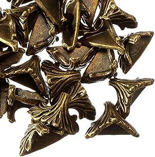 ZINNI-Corner Brackets - New Arrival 30PCs 19mm x 11mm Antique Bronze Pattern Carved Box Desk Box Edge 30 X Box Corner Foot...