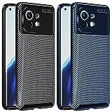 ivoler 2 Unidades Funda para Xiaomi Mi 11, [Fibra de Carbono] Carcasa Ligera Silicona Suave TPU Gel Bumper Caso Case Cover con Shock- Absorción (Negro+Azul)