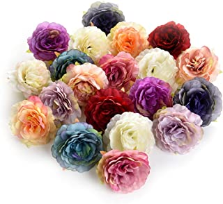 Flower heads in bulk wholesale for Crafts Silk Artificial Peony Flower Head for Garden Wedding Decoration DIY Brooch Fake Flowers Party Birthday Home Decor 20pcs/lot 6cm (Colorful)