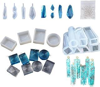 JIAN YA NA 15PCS Jewelry Casting Molds Silicone Resin Jewelry Earrings Pendant Bracelet Molds for DIY Craft Making Bonus 100 Pieces Screw Eye Pins