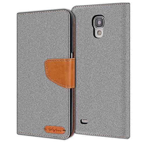 Conie Samsung Galaxy S4 Mini Hülle für Galaxy S4 Mini Tasche, Textil Denim Jeans Look Booklet Cover Handytasche Klapphülle Etui mit Kartenfächer, Grau