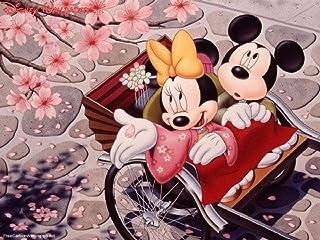 GEZHF Bricolage Peinture à l'huile par numéros - Mickey et Minnie sous Les Fleurs de Cerisier -16 * 20 Pouces Enfants Adul...