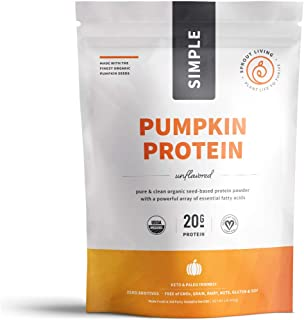 Sprout Living Simple Pumpkin Seed Protein Powder, 20 Grams Cold-Pressed Organic Plant Protein, Vegan, Gluten Free, No Dairy, No Additives (1 Pound, 16 Servings)
