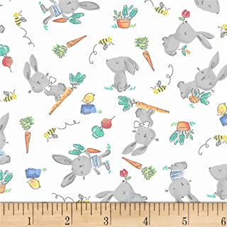 Windham Fabrics 0573139 Cubby Bear Flannel Prints Bunny Hop White Fabric by the Yard