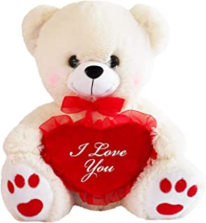 Teddy Bear with I Love You Heart (White)