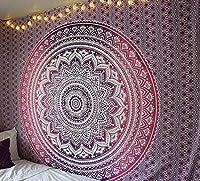 JOOCAR ピンクのタペストリーマンダラマルチカラーインディアンヒッピーの壁掛け居間の寝室の寮の装飾的な芸術のタペストリー 150cm x 230cm