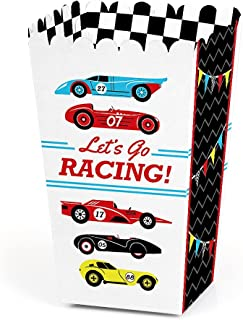 Let's Go Racing - Racecar - Baby Shower or Race Car Birthday Party Favor Popcorn Treat Boxes - Set of 12