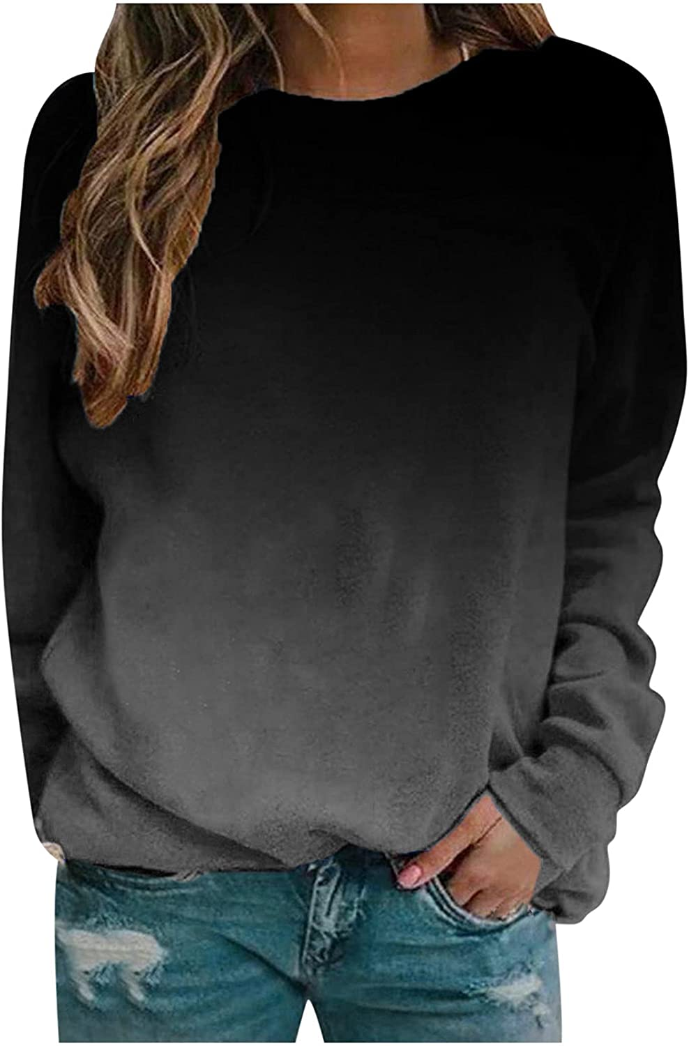 TIMIFIS Long Sleeve Tops for Women Casual O Neck Shirts Loose Fit Blouses Fashion Gradient Color Sweatshirts