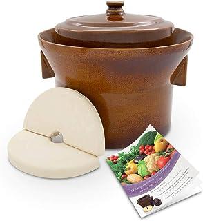 K&K Premium Gärtopf Form 1 - 5.0 Liter aus hochwertiger Steinzeug Keramik inkl. Deckel und Stein - 15mm Wandstärke