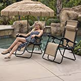 BELLEZE Zero Gravity Chairs Set of (2) Patio Lounge Chair Outdoor Beach Backyard Foldeable Reclining Seat Folding, Beige
