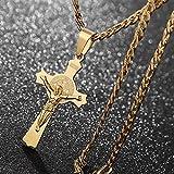 n a Oro Tono Esorcisma Ciondolo Cieco Collana Inox Acciaio Cattolico Romano Croce Protezione Demone Fantasma Cacciatore