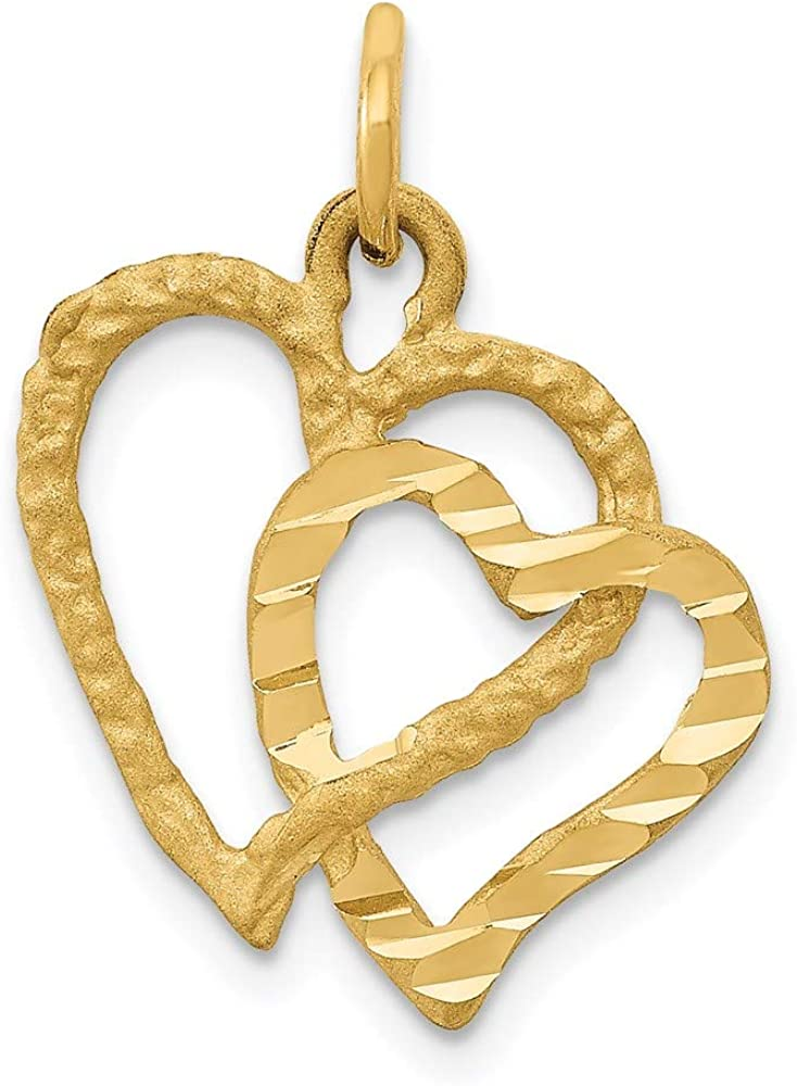 14K Polished and Textured depot Double Heart style El Paso Mall Pendant 21mm C 17mm