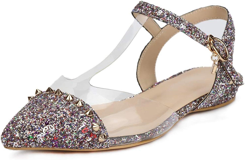 DoraTasia Women's Bling Buckle Rhinestone Flat Heel Elegant Sandals