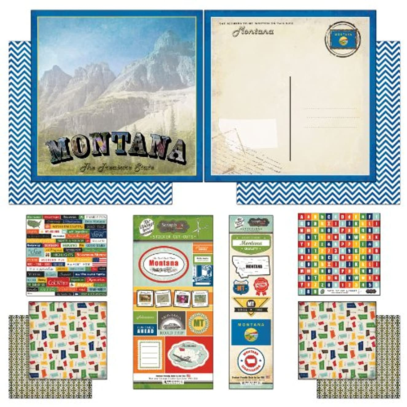 Scrapbook Customs Themed Paper and Stickers Scrapbook Kit, Montana Vintage