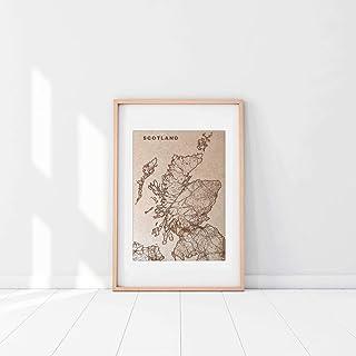Arte grabado en madera de Escocia o cualquier país. Mapa grabado personalizado de tu país. Arte en madera. Decoración retr...