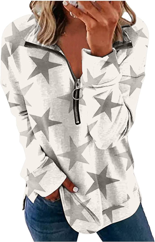 Sweatshirt for Women Pullover 1/4 Zip Graphic Star Print Long Sleeve Causal Sweatshirts Activewear Running Jacket Shirts