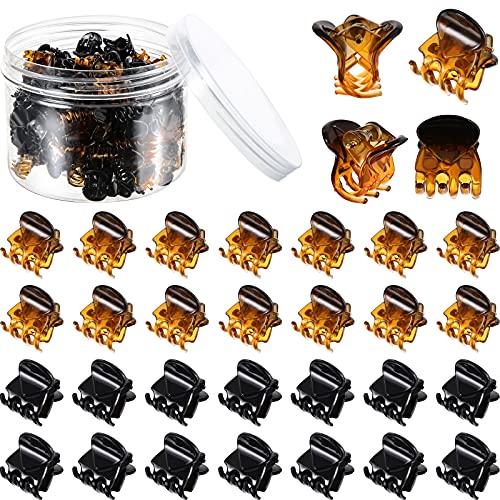 100 Pezzi Mini Capelli Artiglio Pinze di Plastica Capelli Artiglio Spilla con Una Scatola Piccolo Capelli Artiglio Fermagli per Ragazze e Donne (Nero e Marrone)