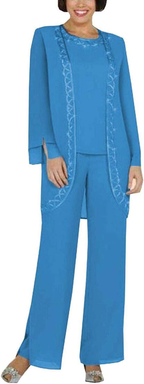3 PC Women Dress Suit Chiffon Mother of The Bride Pants Suit Prom Evening Dress Suit Casual Wear