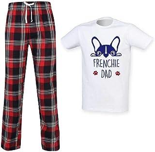Mens Frenchie Dad Tartan Pyjama Set Fathers Day Pet Clothes Present French Bulldog
