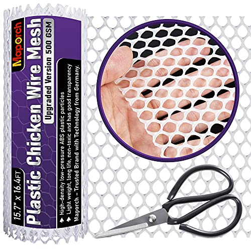 MAPORCH Upgraded 15.7' x 16.4FT White Plastic Chicken Wire Fence Mesh, Included 1 Wire Cutting Scissor, Hexagonal Fencing Wire for Gardening, Poultry Fencing, Wire Frame for Crafts, Floral Netting
