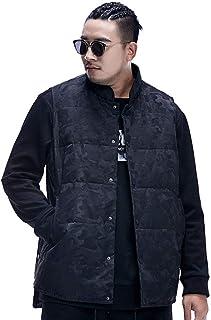 タンクトップ ベストのベストベストサイズのベスト男性のルーズなスタンドベストファット冬のコートの厚手のベスト綿のキルトプラス肥料の増加ベスト (Color : Black, Size : 5XL)